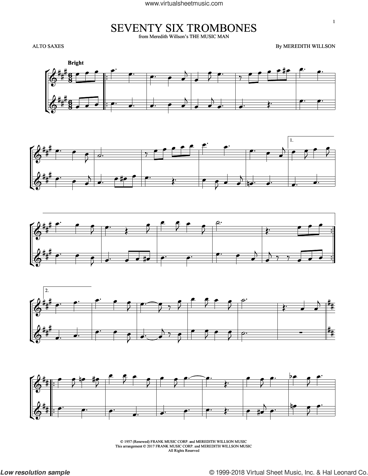 Seventy Six Trombones sheet music for two alto saxophones (duets) by Meredith Willson, intermediate skill level