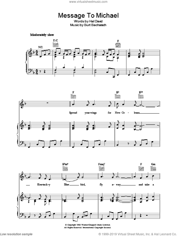 A Message to Martha (A Message To Michael/Kentucky Bluebird) sheet music for voice, piano or guitar by Burt Bacharach and Hal David, intermediate. Score Image Preview.