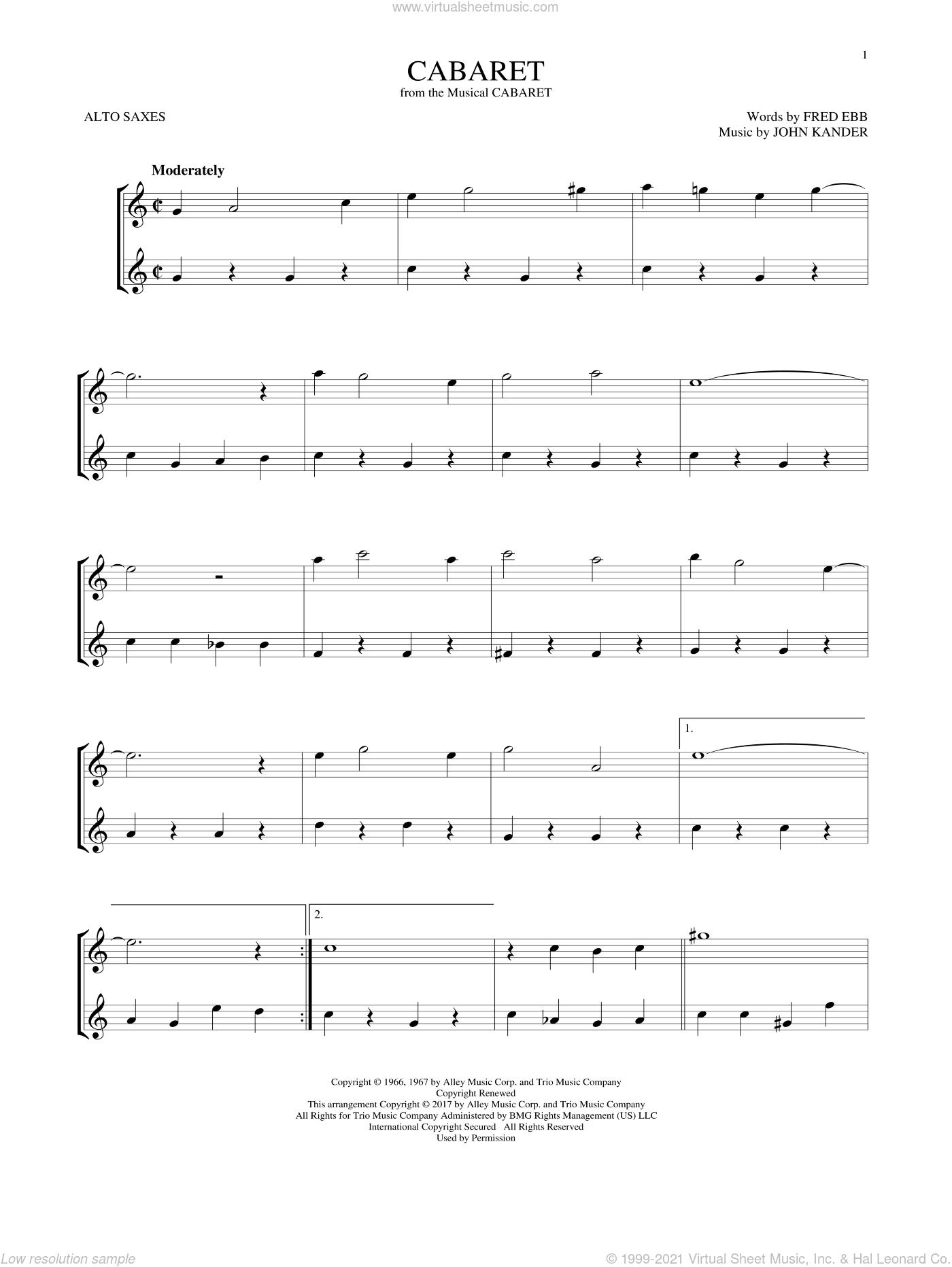 Cabaret sheet music for two alto saxophones (duets) by John Kander, Herb Alpert & The Tijuana Brass and Fred Ebb, intermediate skill level