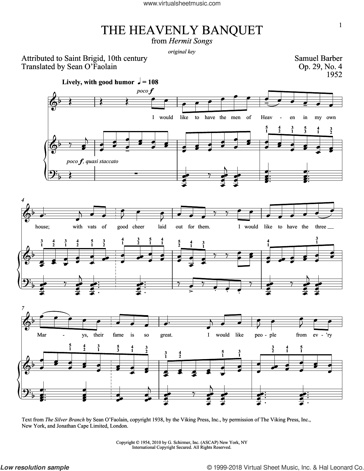 The Heavenly Banquet, Op. 29, No. 4 sheet music for voice and piano (High Voice) by Samuel Barber and Richard Walters, intermediate skill level