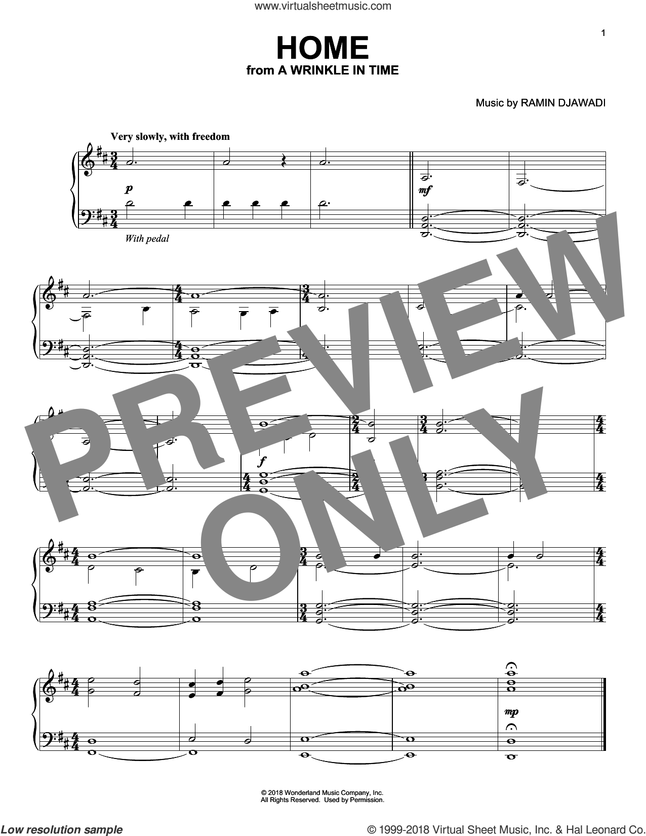 Home sheet music for piano solo by Ramin Djawadi, intermediate skill level