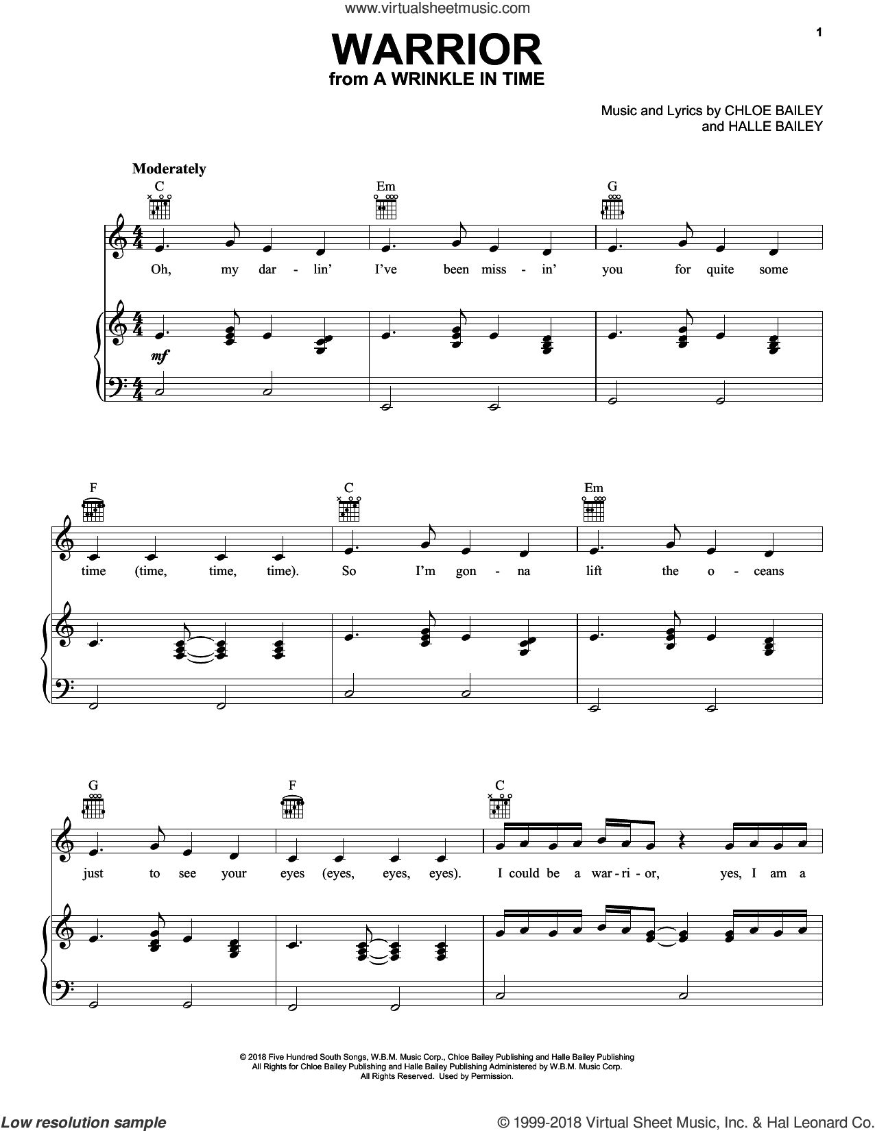 Warrior (from A Wrinkle In Time) sheet music for voice, piano or guitar by Halle Bailey and Chloe Bailey, intermediate skill level