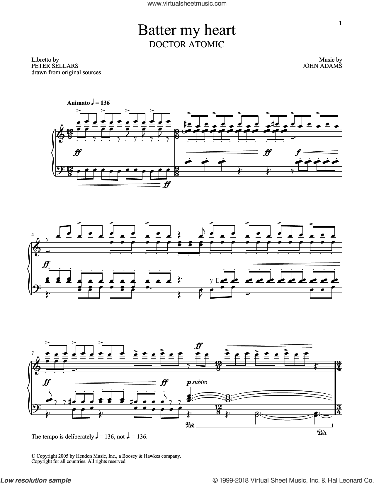 Batter My Heart sheet music for voice and piano by John Adams and Peter Sellars, classical score, intermediate skill level