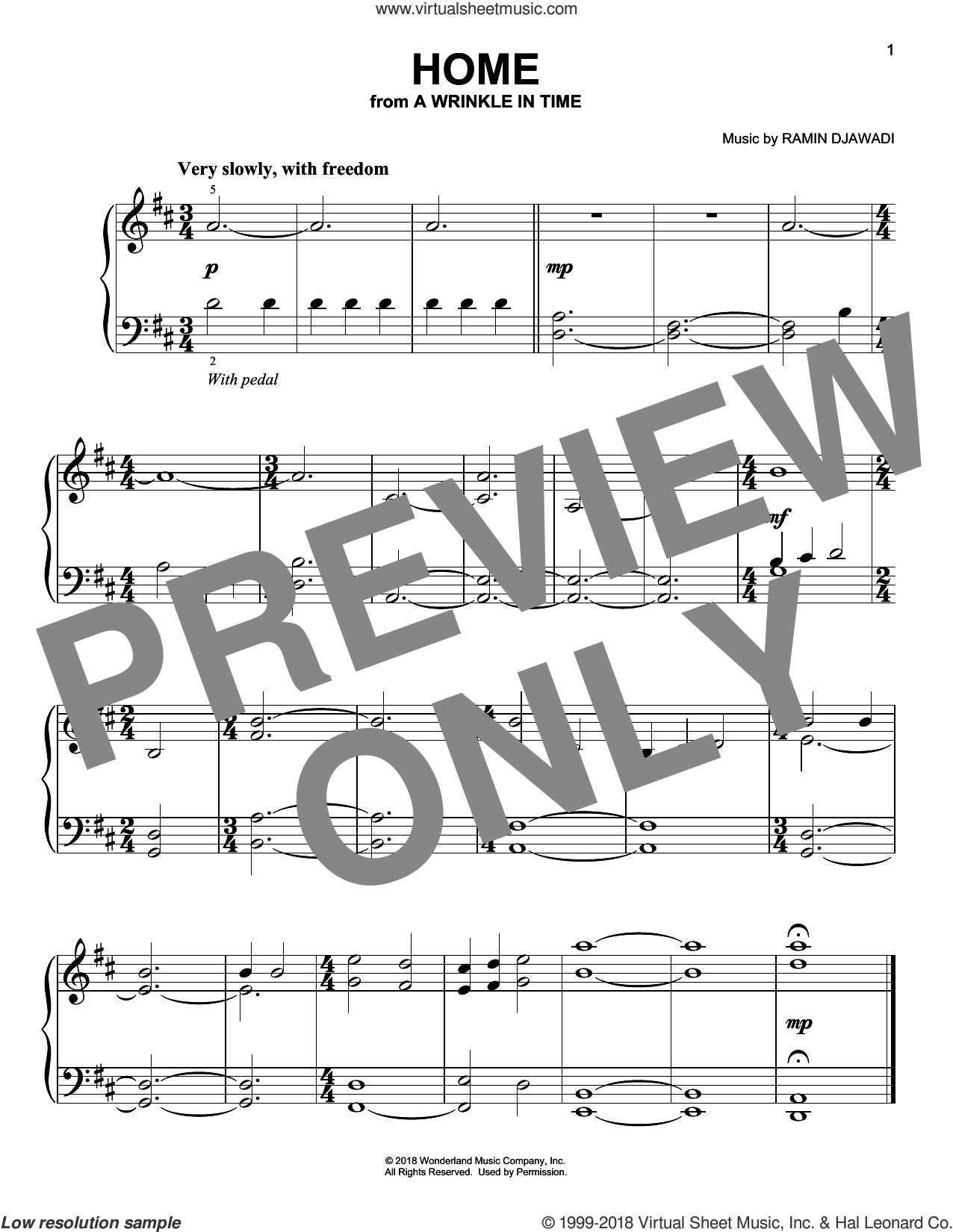 Home sheet music for piano solo by Ramin Djawadi, easy skill level