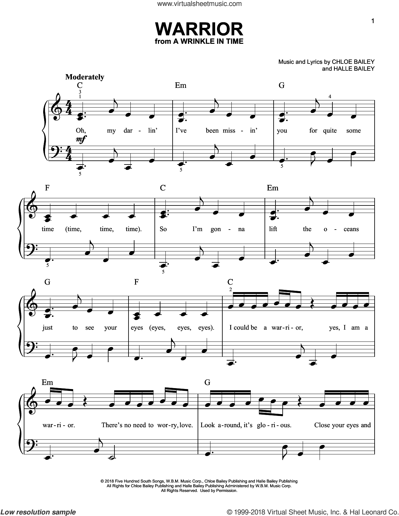 Warrior (from A Wrinkle In Time) sheet music for piano solo by Chloe Bailey and Halle Bailey, easy skill level