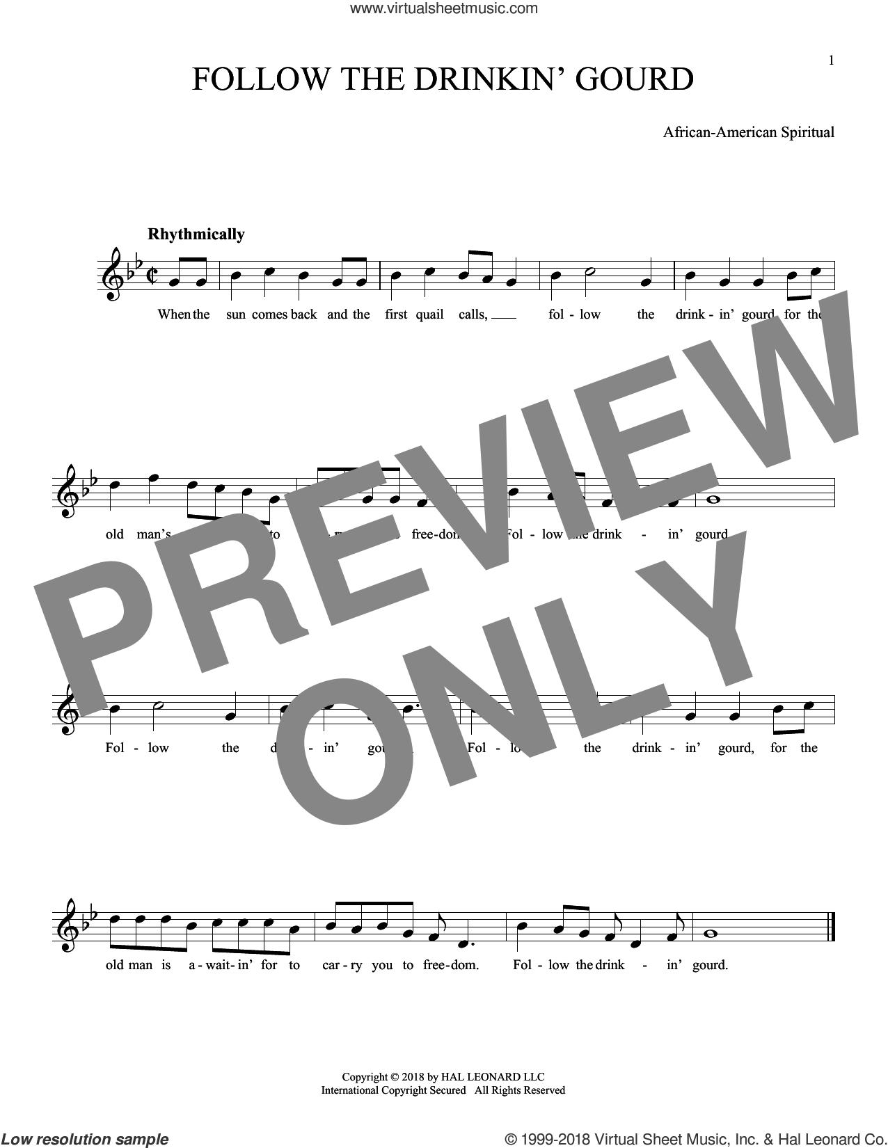 Follow The Drinkin' Gourd sheet music for ocarina solo, intermediate skill level