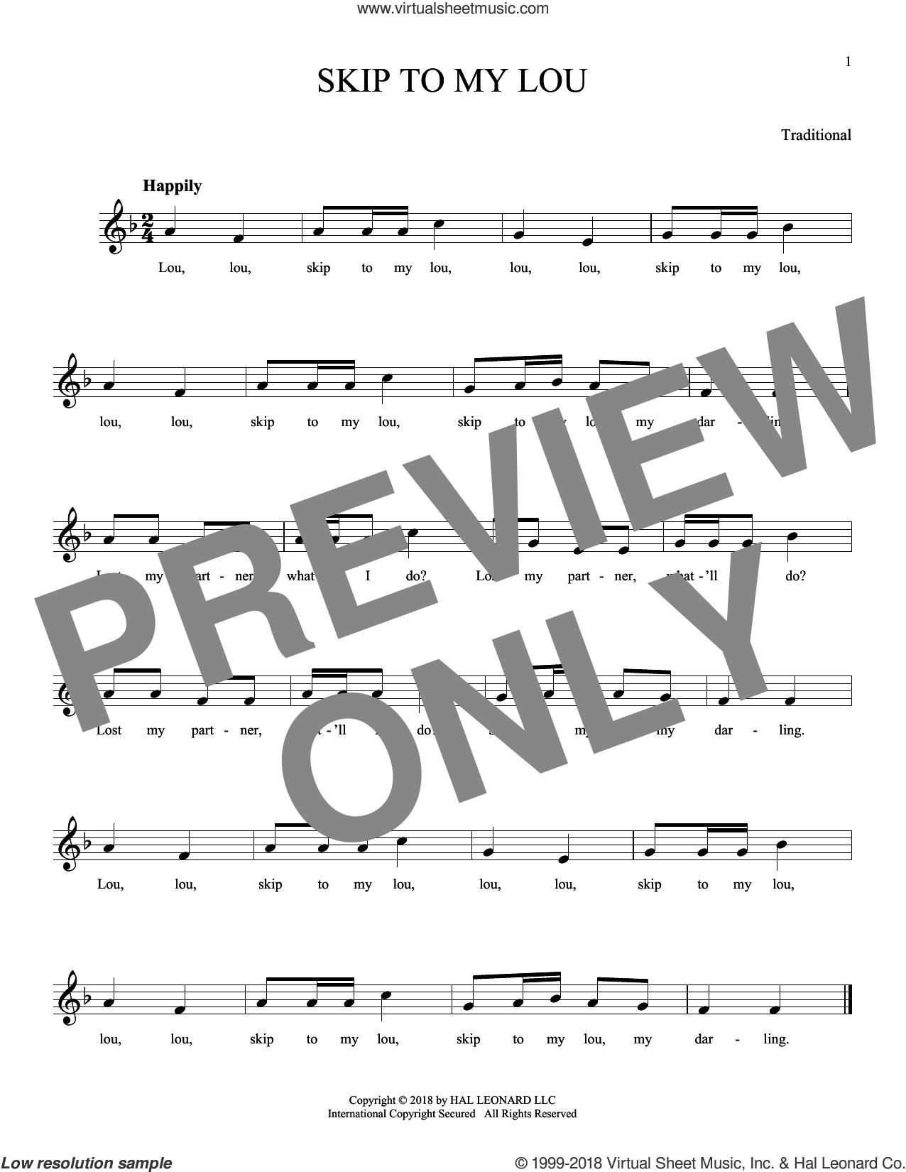 Skip To My Lou sheet music for ocarina solo, intermediate skill level