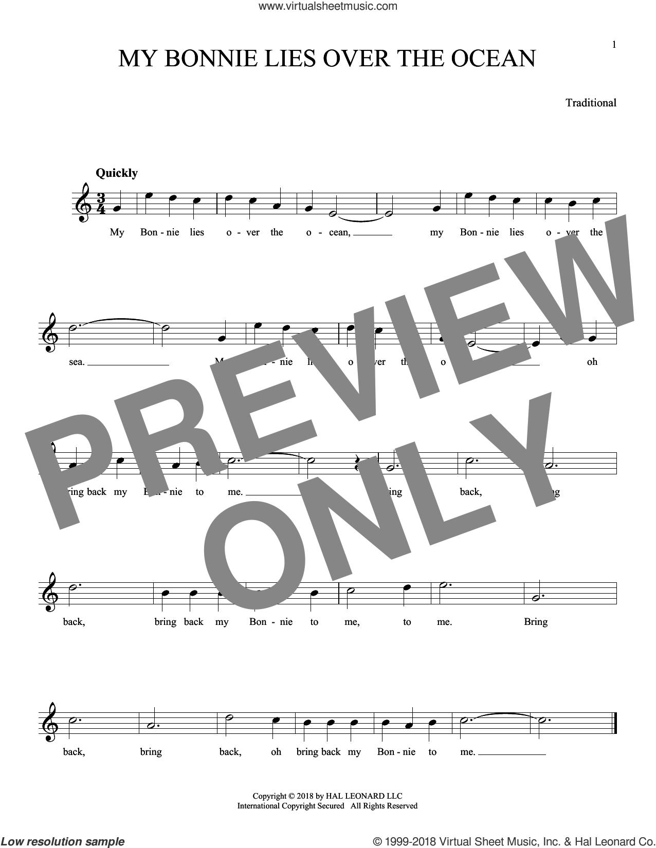 My Bonnie Lies Over The Ocean sheet music for ocarina solo, intermediate skill level