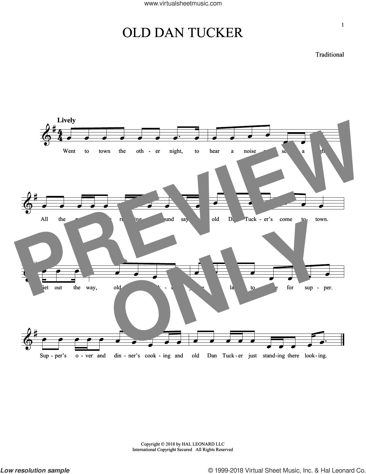 Old Dan Tucker sheet music for ocarina solo, intermediate skill level