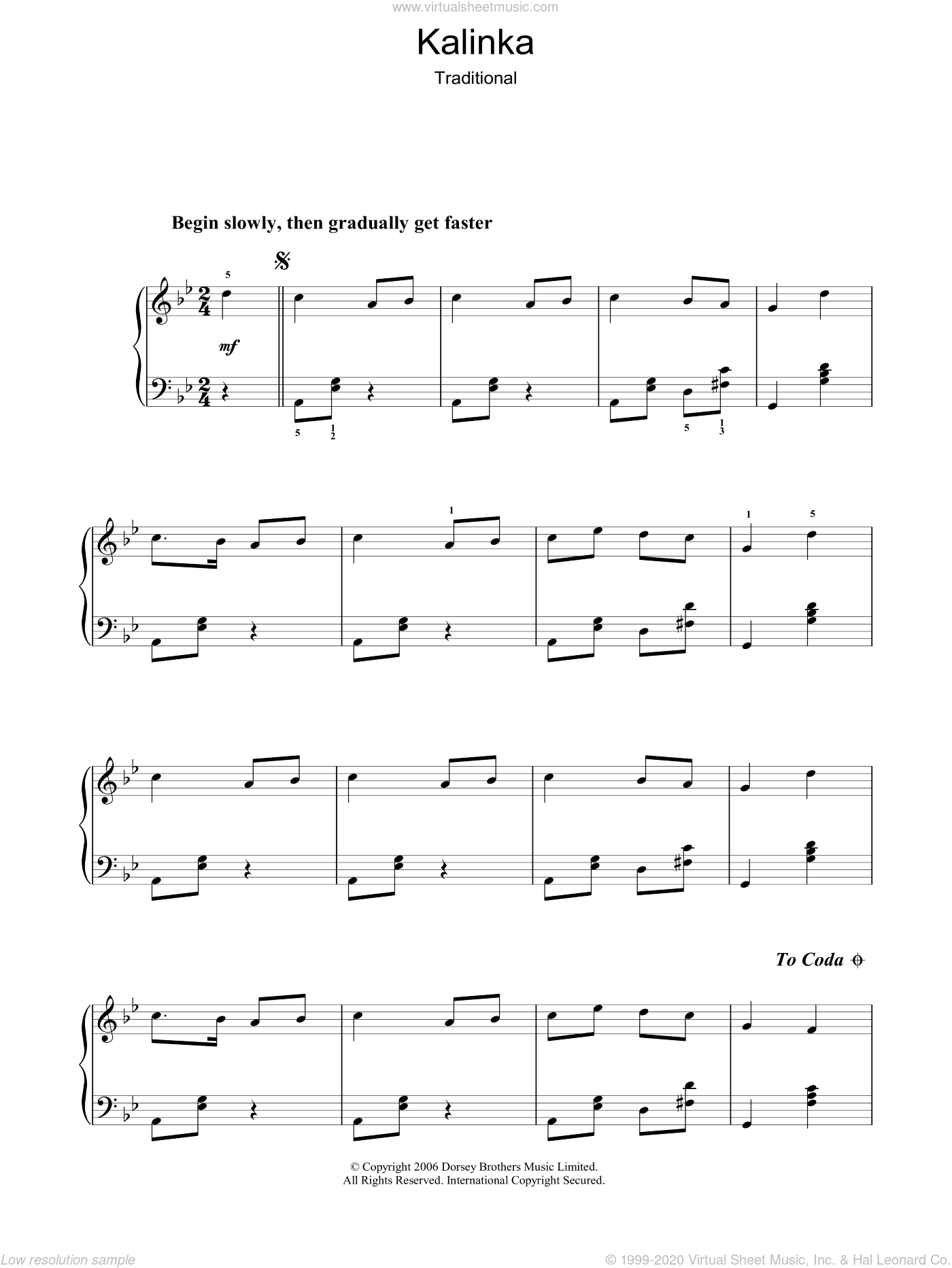 Kalinka sheet music for voice, piano or guitar. Score Image Preview.