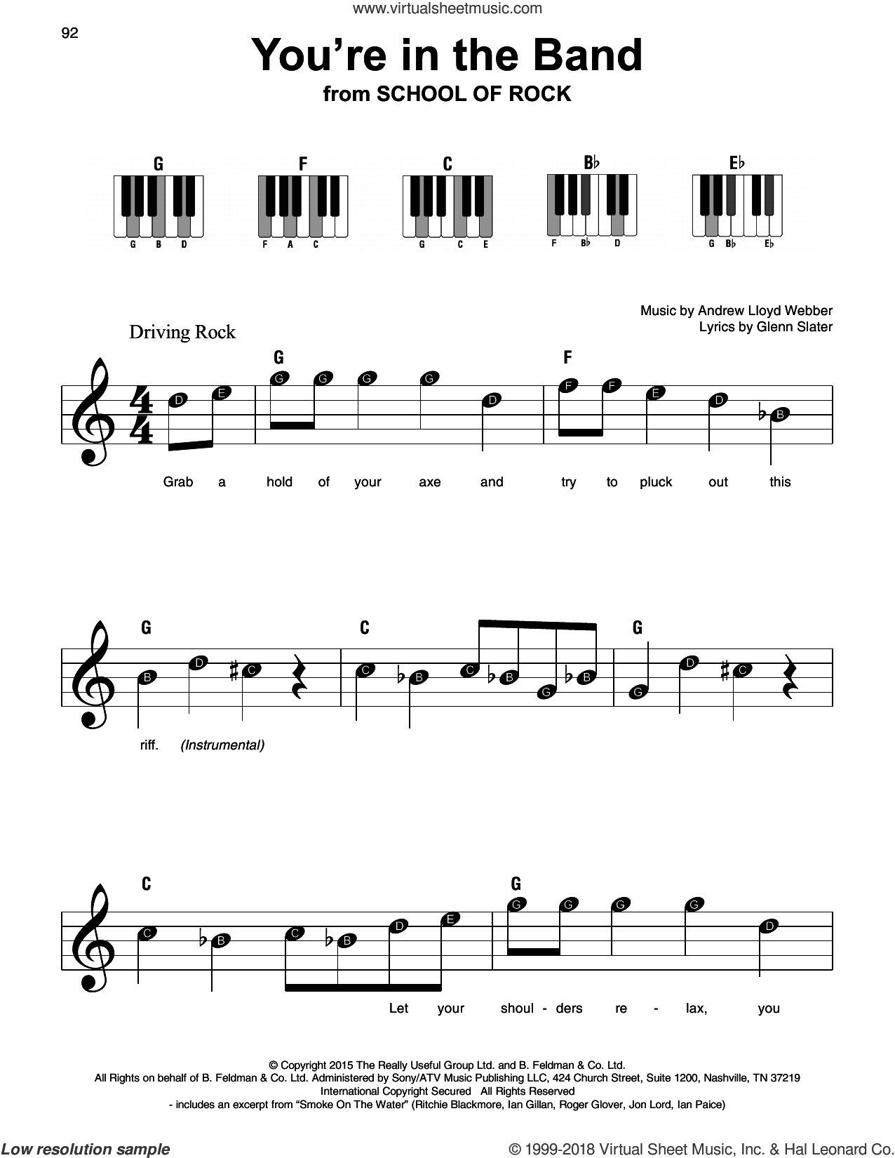 You're In The Band (from School of Rock: The Musical) sheet music for piano solo by Andrew Lloyd Webber and Glenn Slater, beginner skill level