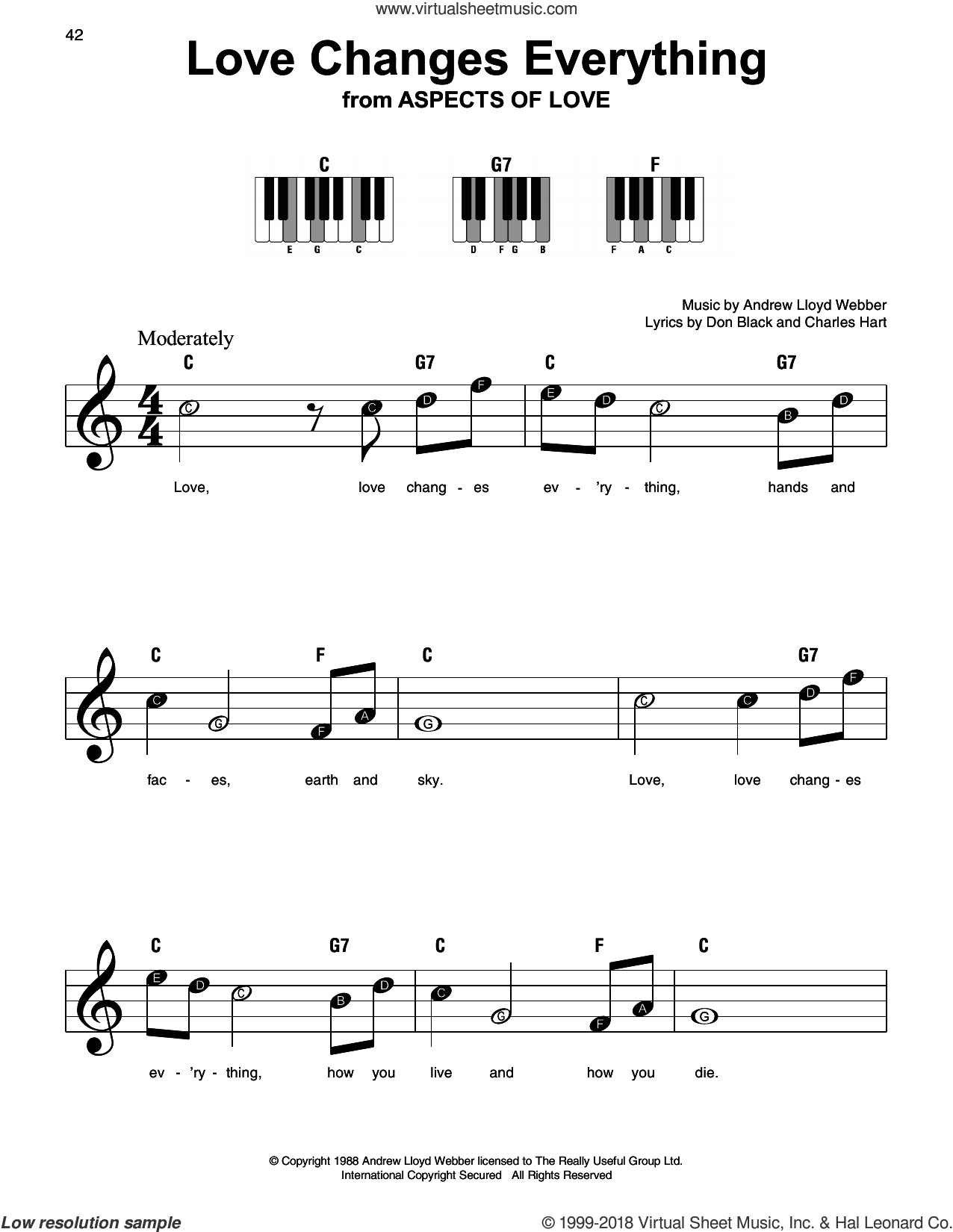 Love Changes Everything sheet music for piano solo by Andrew Lloyd Webber, Charles Hart and Don Black, beginner skill level