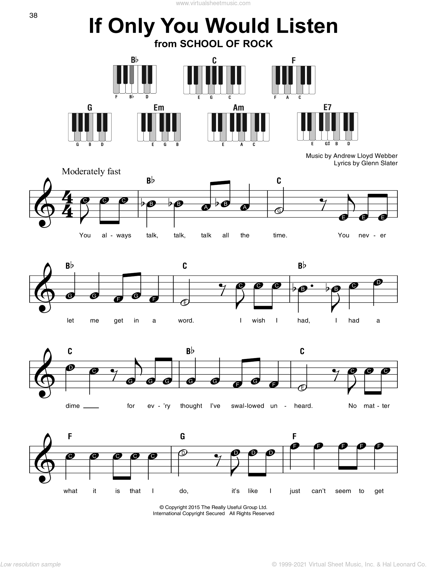 If Only You Would Listen (from School of Rock: The Musical) sheet music for piano solo by Andrew Lloyd Webber and Glenn Slater, beginner skill level