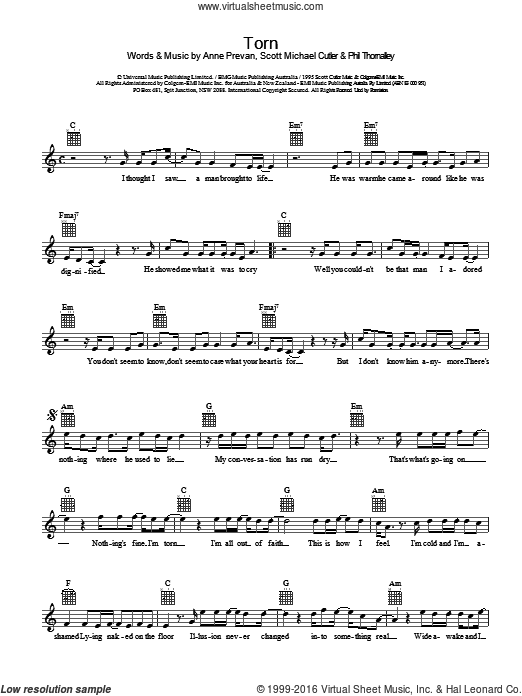Torn sheet music for voice and other instruments (fake book) by Natalie Imbruglia, Anne Preven and Scott Cutler. Score Image Preview.
