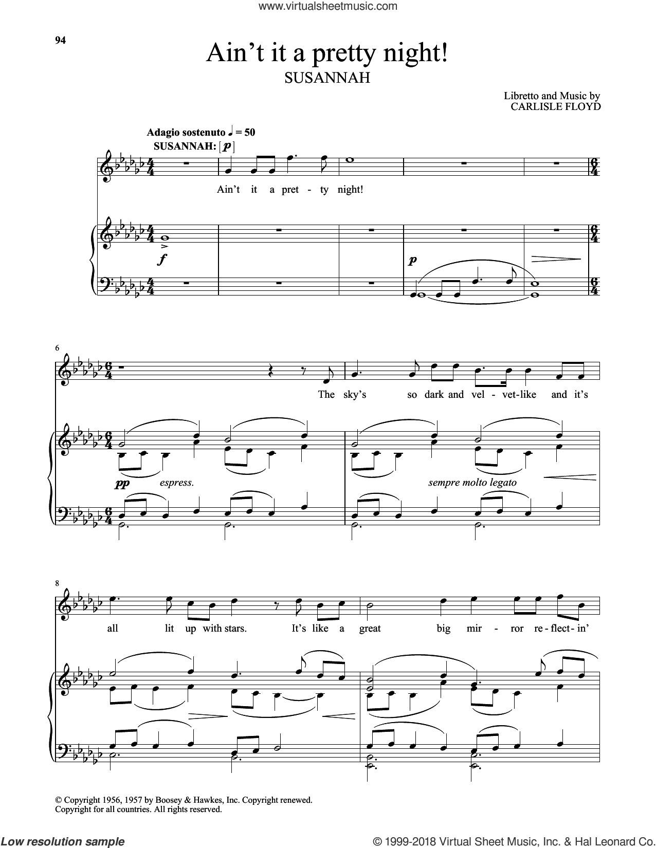 Ain't It A Pretty Night! sheet music for voice and piano (Soprano) by Carlisle Floyd, classical score, intermediate skill level