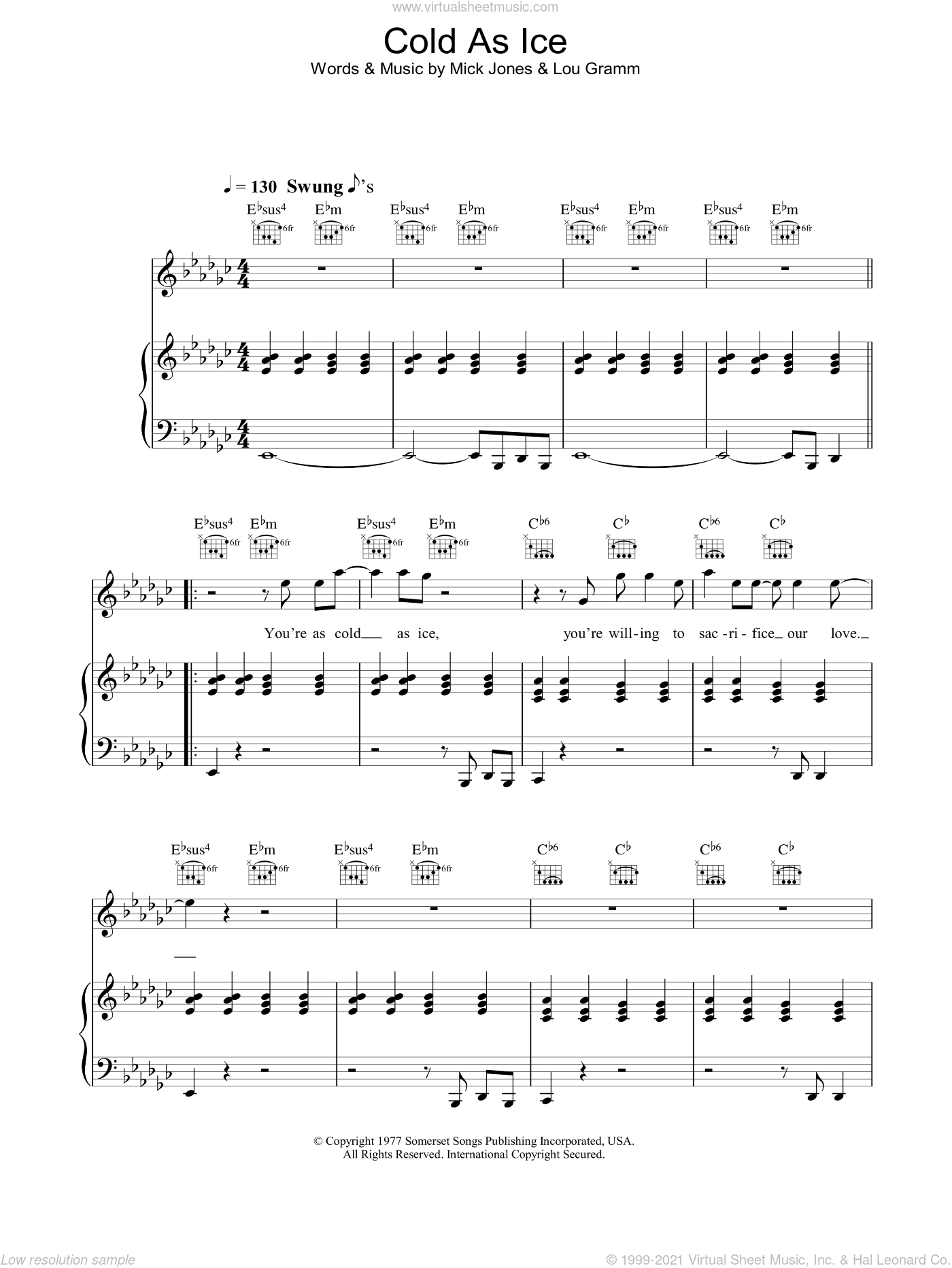 Cold As Ice sheet music for voice, piano or guitar by Foreigner, Lou Gramm and Mick Jones, intermediate voice, piano or guitar. Score Image Preview.