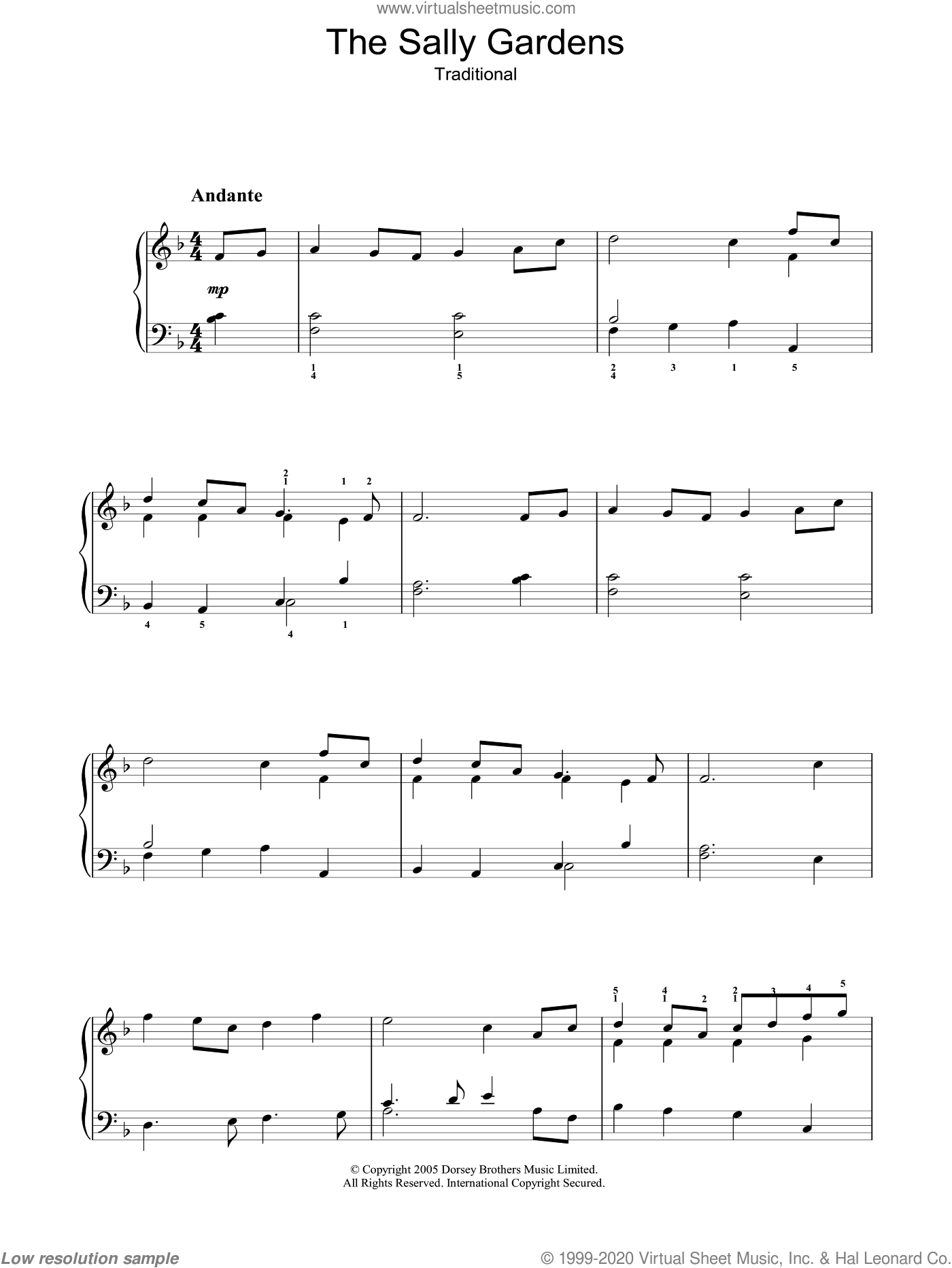 The Sally Gardens sheet music for voice, piano or guitar, intermediate skill level