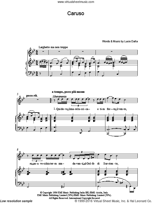 Caruso sheet music for voice, piano or guitar by Lucio Dalla