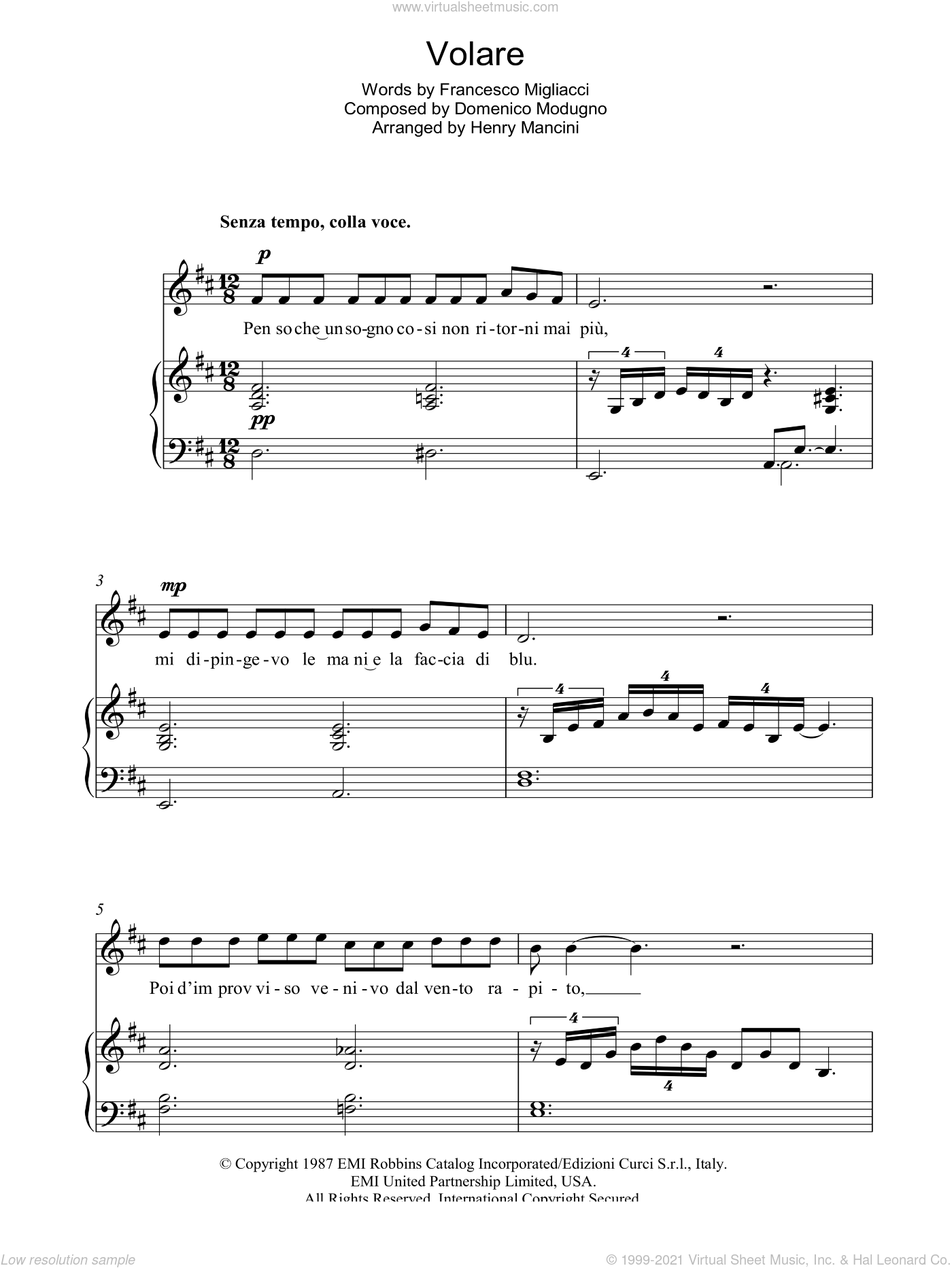 Volare (Nel Blu, Dipinto Di Blu) sheet music for voice, piano or guitar by Domenico Modugno