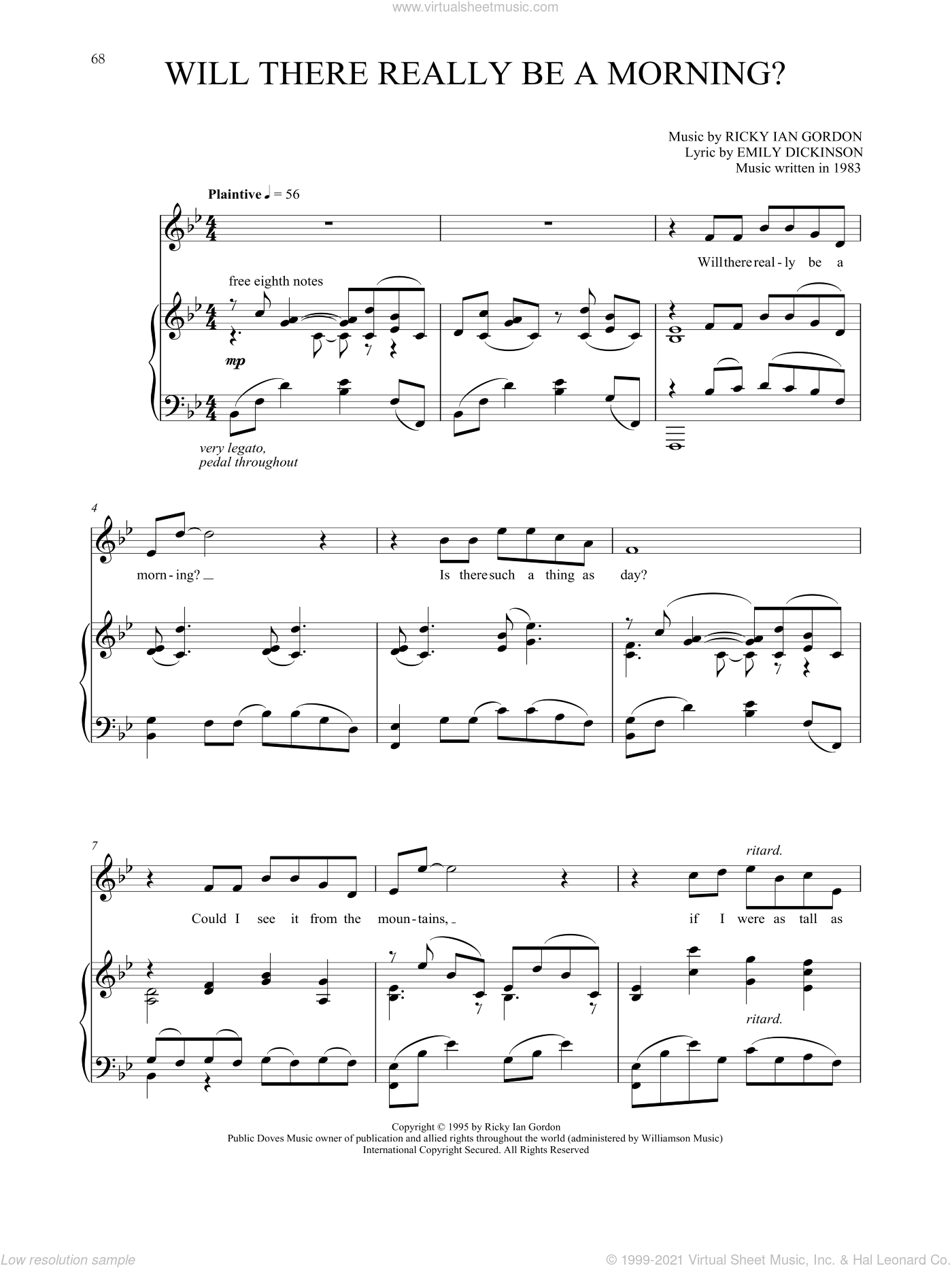 Will There Really Be A Morning? sheet music for voice and piano by Ricky Ian Gordon and Emily Dickinson, classical score, intermediate skill level