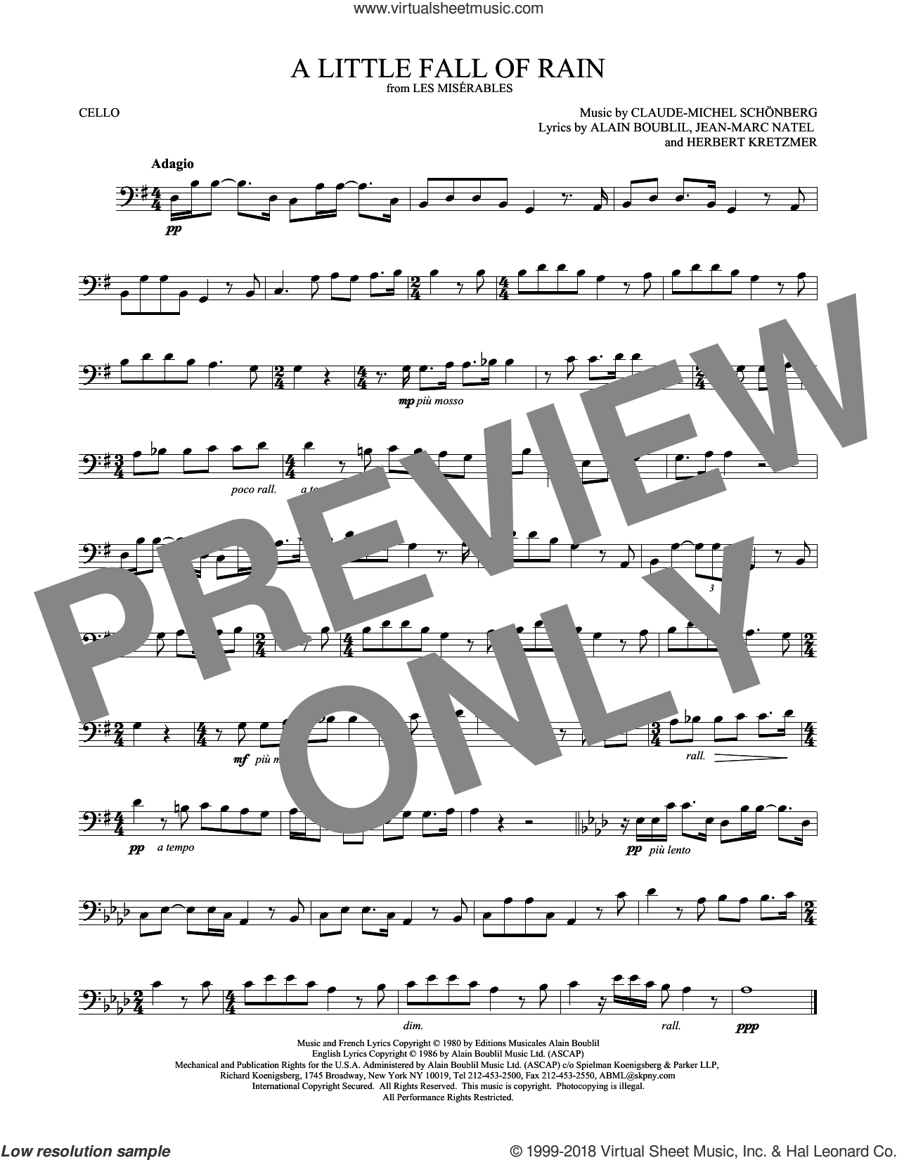 A Little Fall Of Rain sheet music for cello solo by Alain Boublil, Claude-Michel Schonberg, Claude-Michel Schonberg, Herbert Kretzmer and Jean-Marc Natel, intermediate skill level