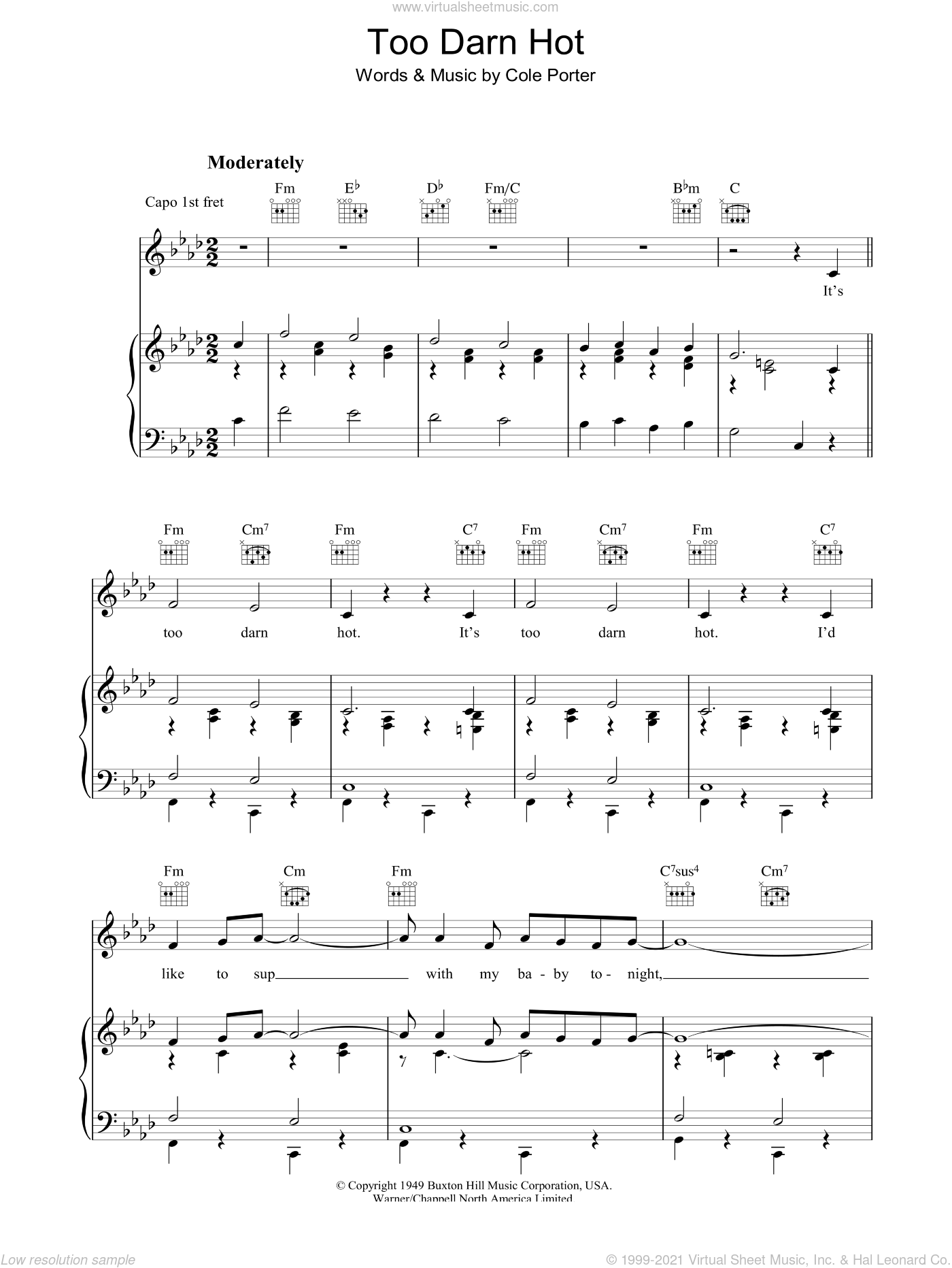 Too Darn Hot sheet music for voice, piano or guitar by Cole Porter, intermediate. Score Image Preview.