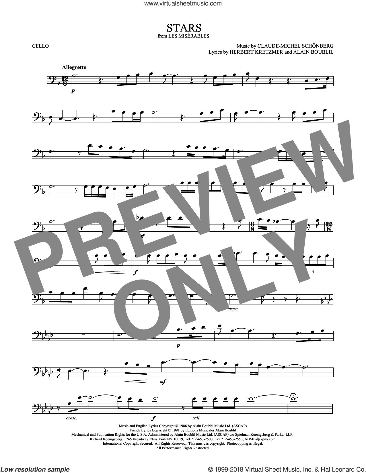 Stars sheet music for cello solo by Alain Boublil, Claude-Michel Schonberg, Claude-Michel Schonberg and Herbert Kretzmer, intermediate skill level