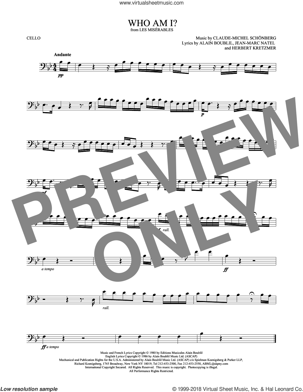 Who Am I? sheet music for cello solo by Alain Boublil, Claude-Michel Schonberg, Herbert Kretzmer and Jean-Marc Natel, intermediate skill level