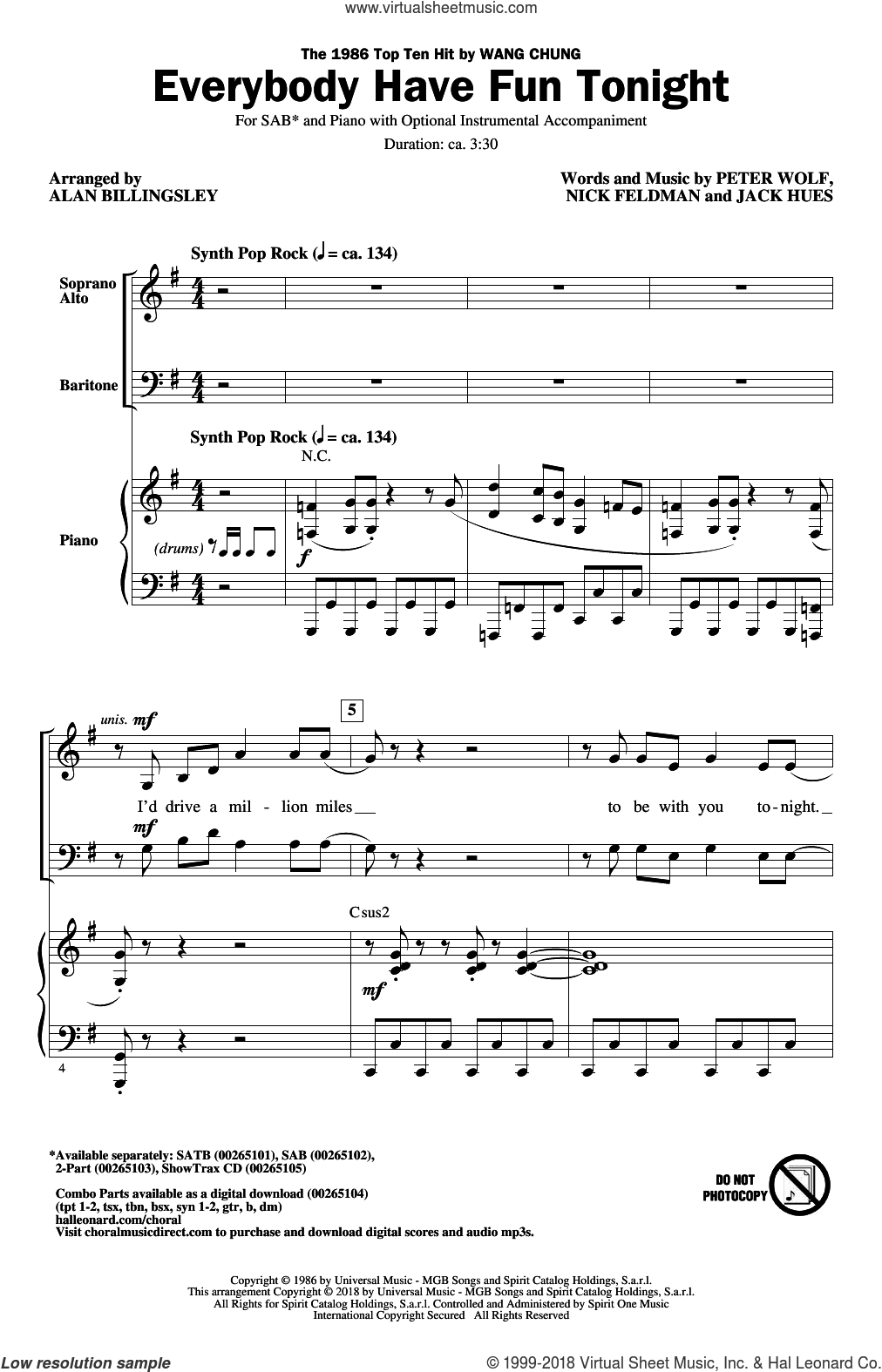 Everybody Have Fun Tonight (arr. Alan Billingsley) sheet music for choir (SAB: soprano, alto, bass) by Alan Billingsley, Wang Chung, Jack Hues, Nick Feldman and Peter Wolf, intermediate skill level
