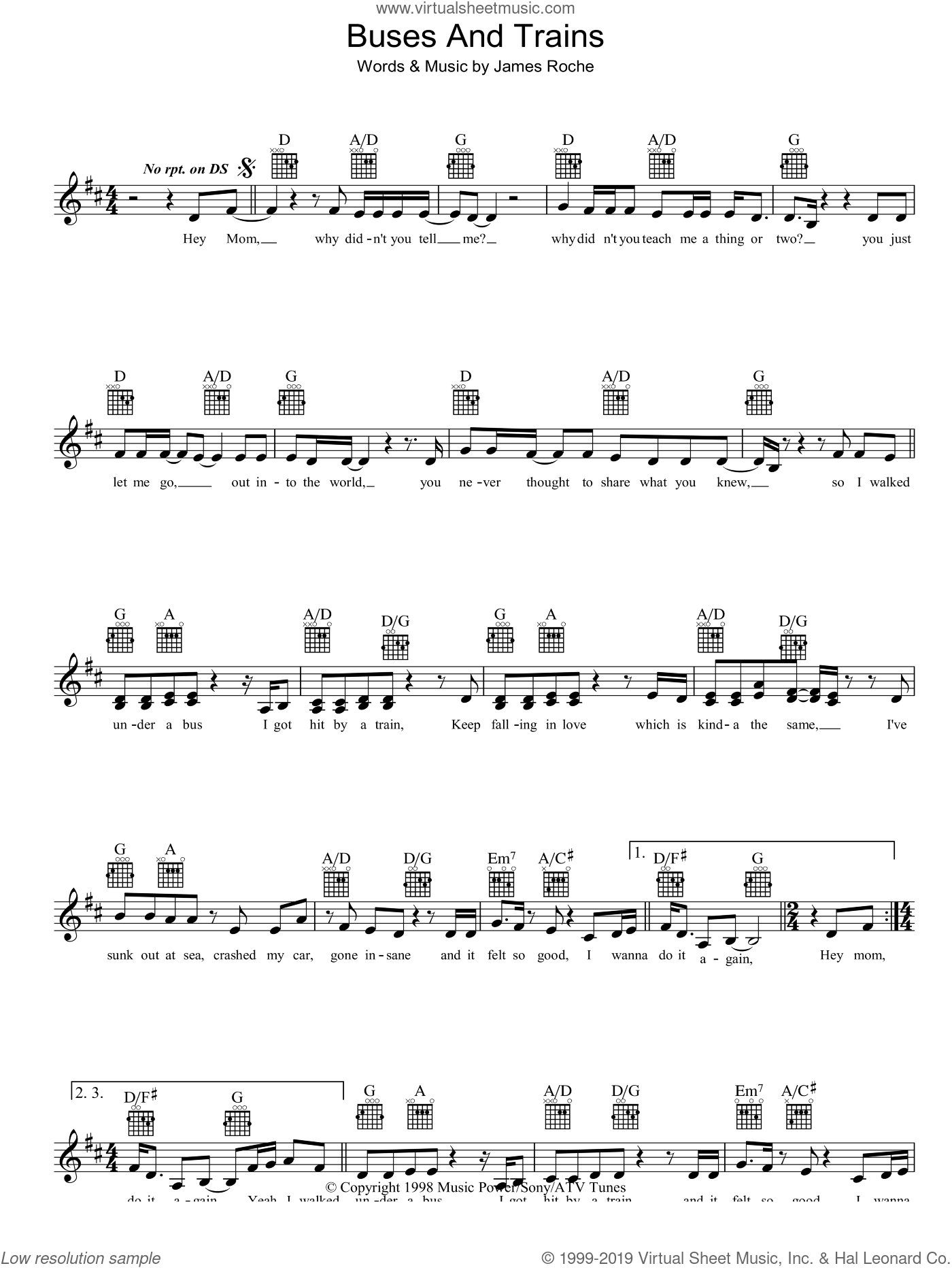 Buses And Trains sheet music for voice and other instruments (fake book) by Bachelor Girl, intermediate. Score Image Preview.
