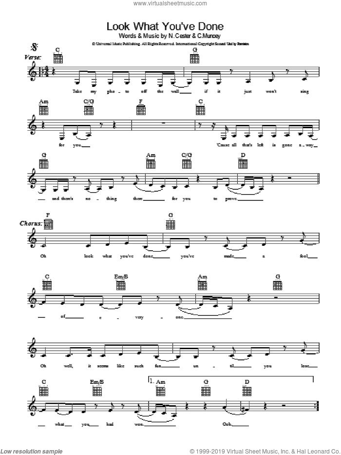 Look What You've Done sheet music for voice and other instruments (fake book) by Cameron Muncey and Nic Cester. Score Image Preview.