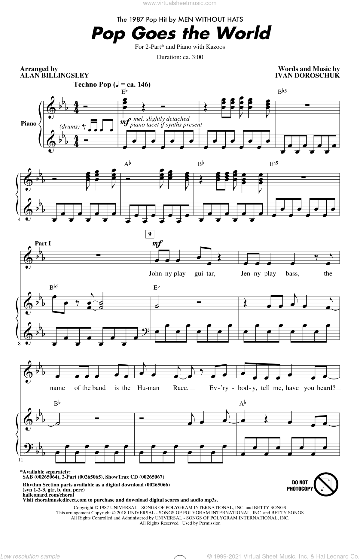 Pop Goes The World sheet music for choir (2-Part) by Alan Billingsley, Men Without Hats and Ivan Doroschuk, intermediate duet