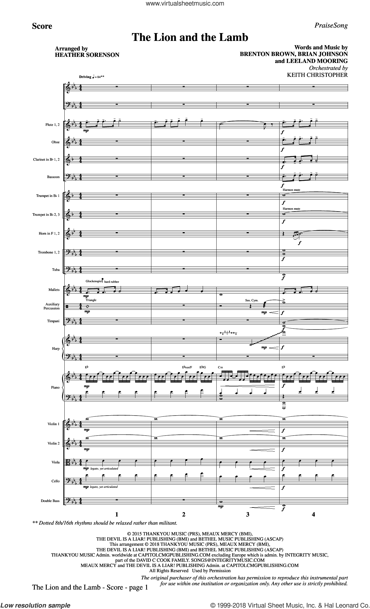 The Lion and the Lamb (with All Hail the Power of Jesus' Name) (COMPLETE) sheet music for orchestra/band by Heather Sorenson, Big Daddy Weave, Brenton Brown, Brian Johnson, Leeland and Leeland Mooring, intermediate skill level