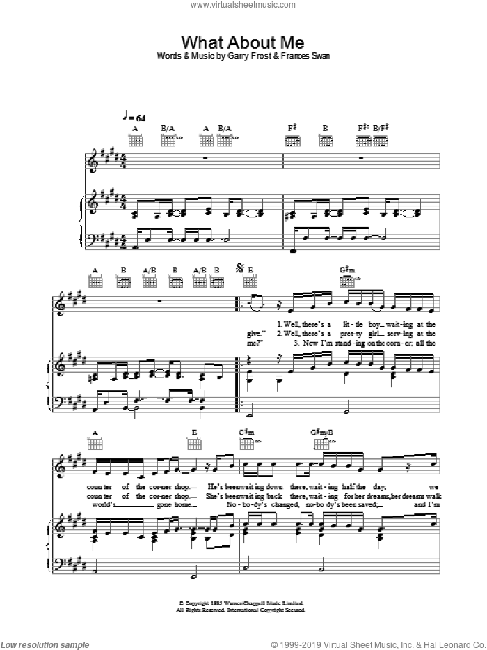 What About Me sheet music for voice, piano or guitar by Frances Swan