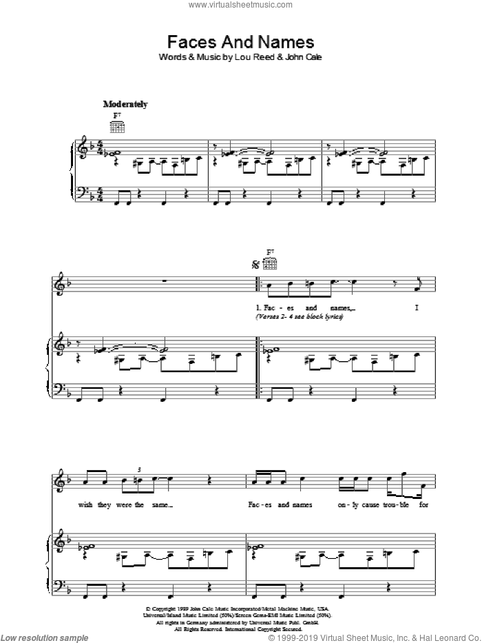 Faces And Names sheet music for voice, piano or guitar by Lou Reed and John Cale, intermediate skill level