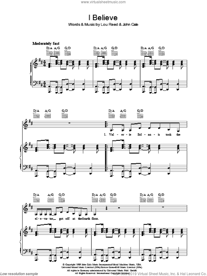 I Believe sheet music for voice, piano or guitar by Lou Reed and John Cale. Score Image Preview.