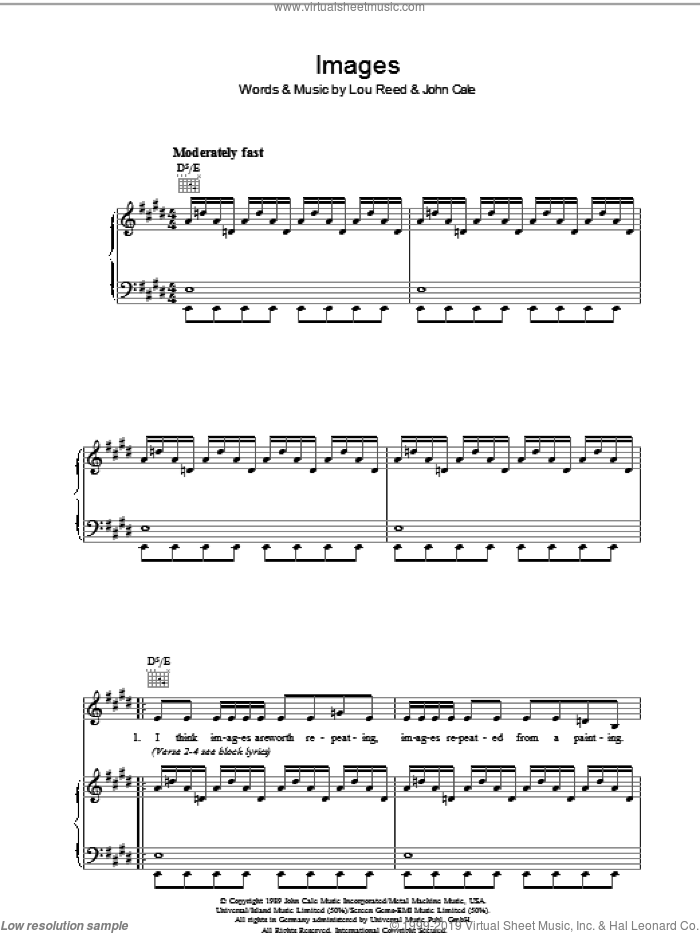 Images sheet music for voice, piano or guitar by Lou Reed and John Cale, intermediate skill level