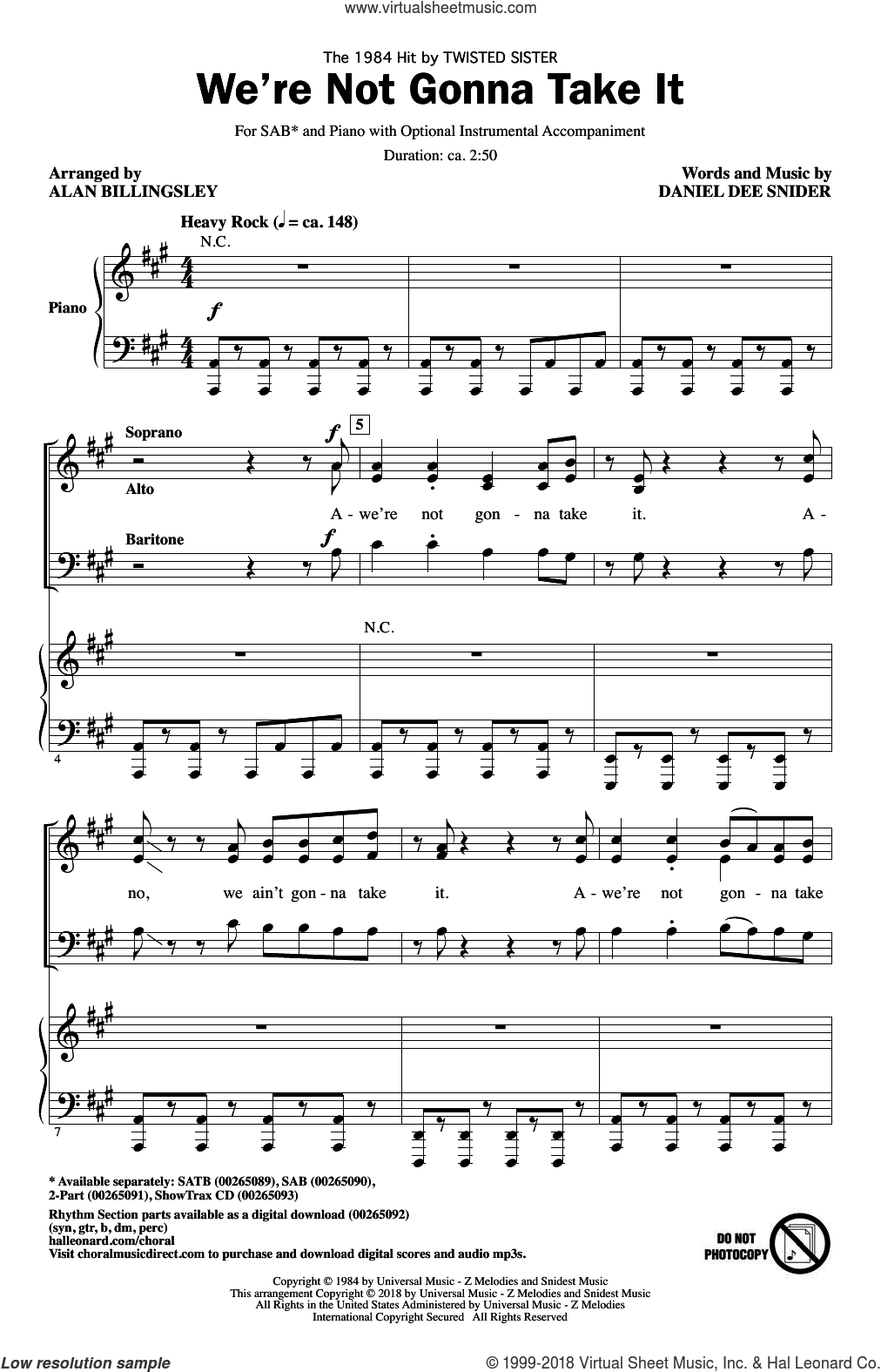 We're Not Gonna Take It sheet music for choir (SAB: soprano, alto, bass) by Alan Billingsley, Twisted Sister and Dee Snider, intermediate skill level