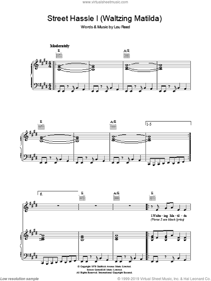 Street Hassle I sheet music for voice, piano or guitar by Lou Reed, intermediate skill level