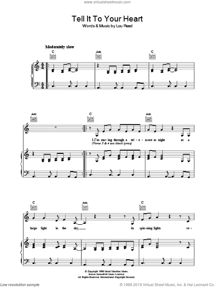 Tell It To Your Heart sheet music for voice, piano or guitar by Lou Reed, intermediate skill level