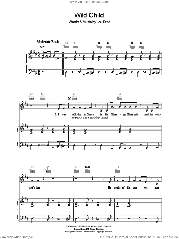 Wild Child sheet music for voice, piano or guitar by Lou Reed, intermediate. Score Image Preview.