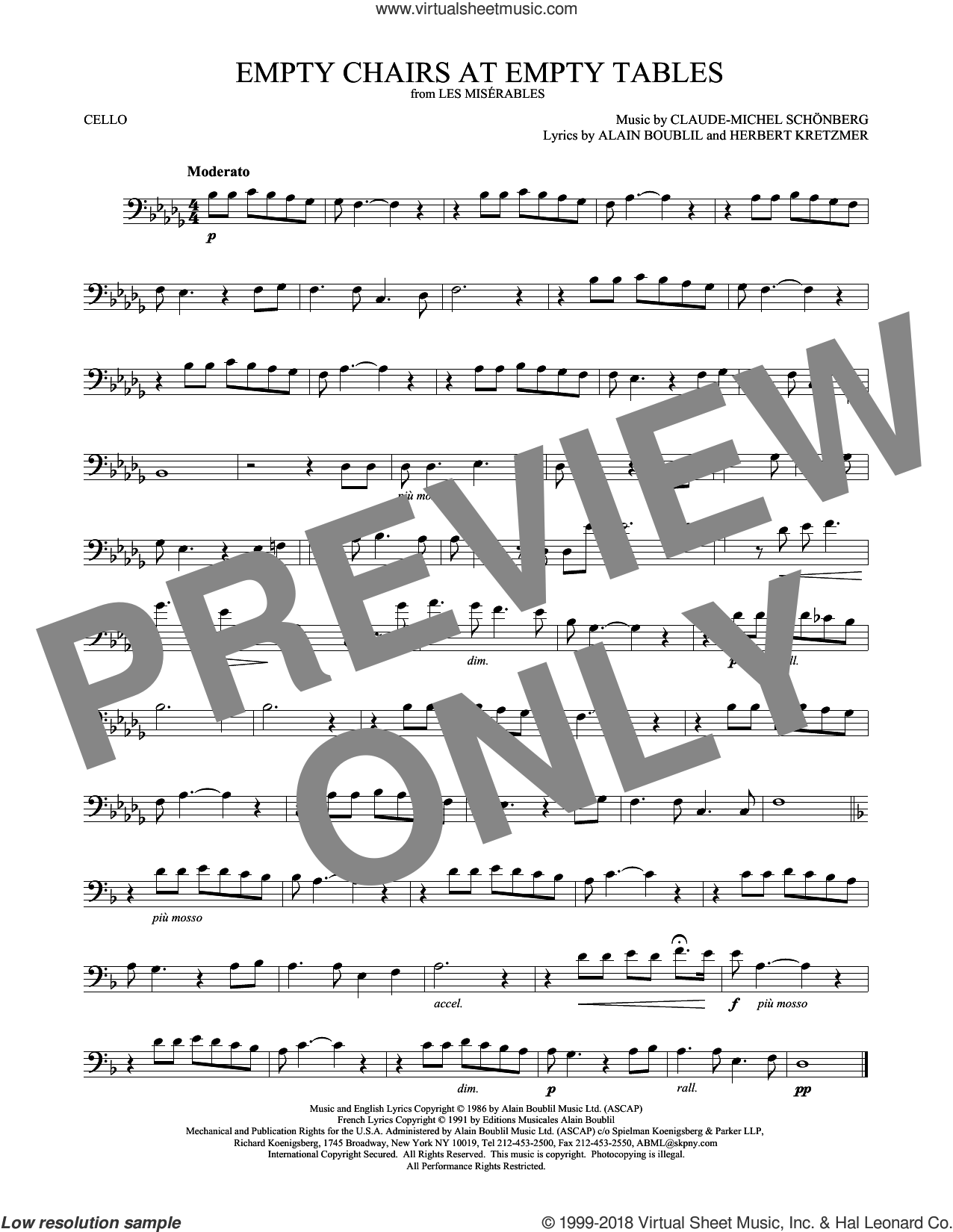 Empty Chairs At Empty Tables sheet music for cello solo by Alain Boublil, Claude-Michel Schonberg and Herbert Kretzmer, intermediate skill level