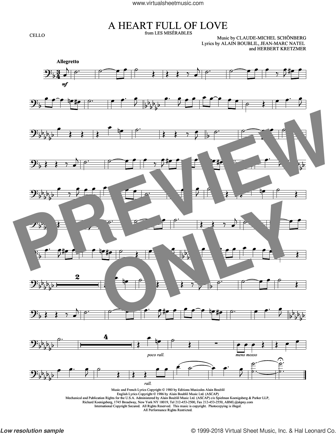 A Heart Full Of Love sheet music for cello solo by Alain Boublil, Claude-Michel Schonberg, Herbert Kretzmer and Jean-Marc Natel, intermediate skill level