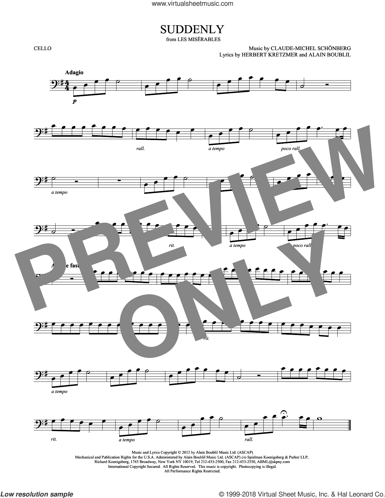 Suddenly sheet music for cello solo by Alain Boublil, Claude-Michel Schonberg, Claude-Michel Schonberg and Herbert Kretzmer, intermediate skill level