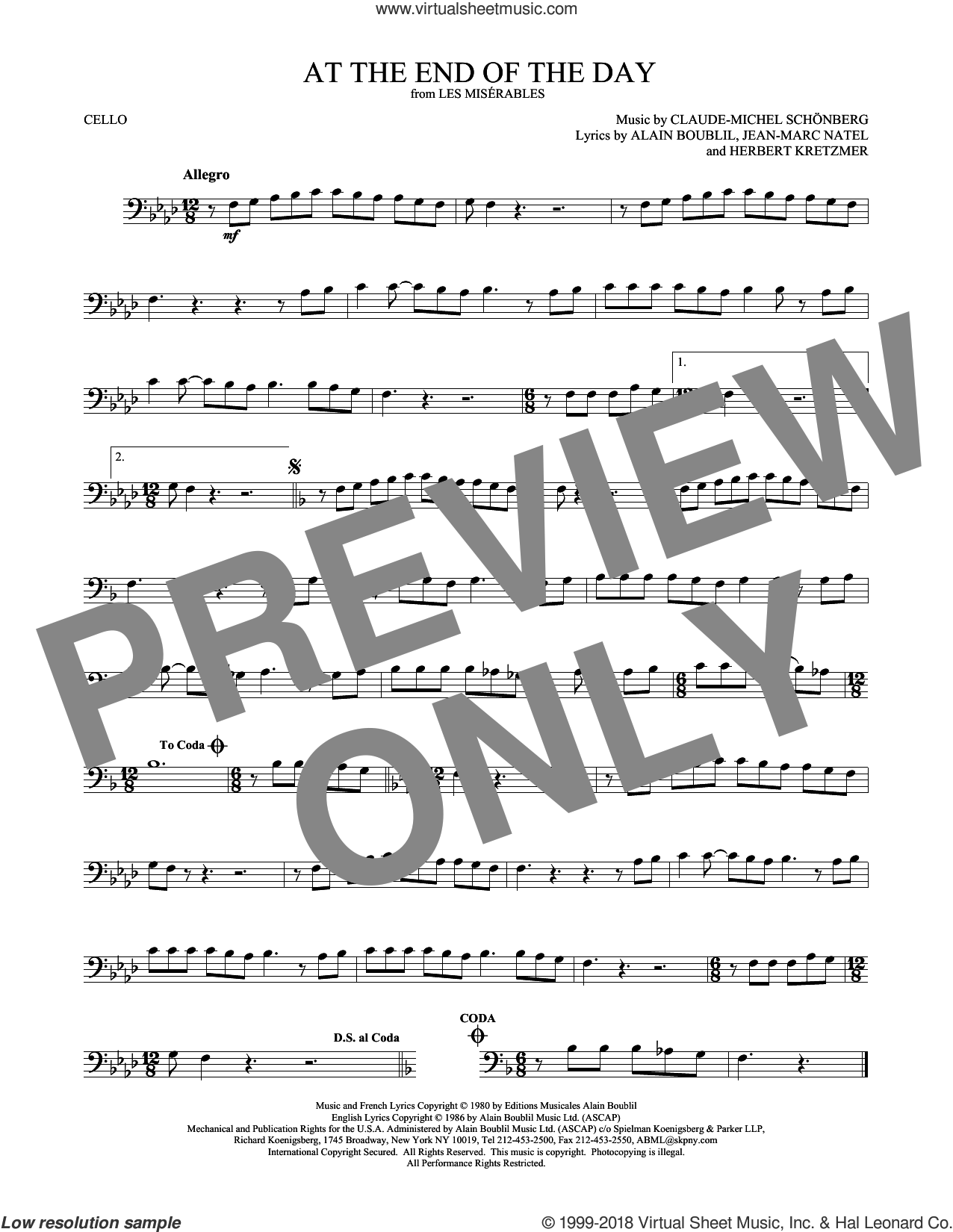 At The End Of The Day sheet music for cello solo by Alain Boublil, Claude-Michel Schonberg, Herbert Kretzmer and Jean-Marc Natel, intermediate skill level