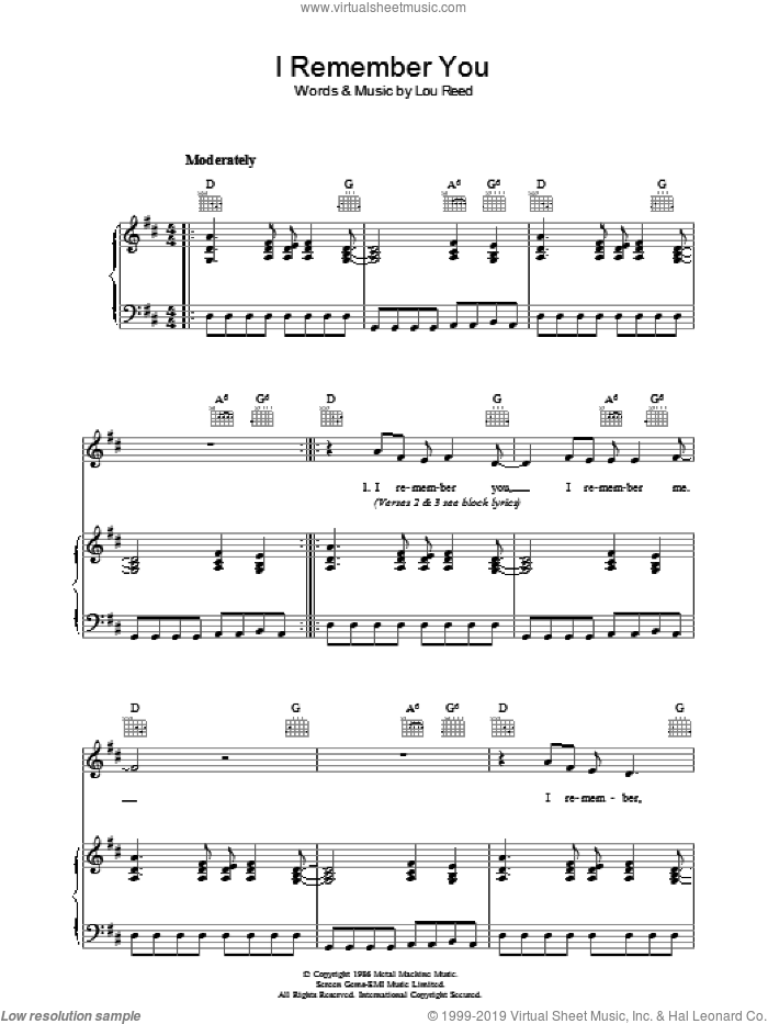I Remember You sheet music for voice, piano or guitar by Lou Reed. Score Image Preview.