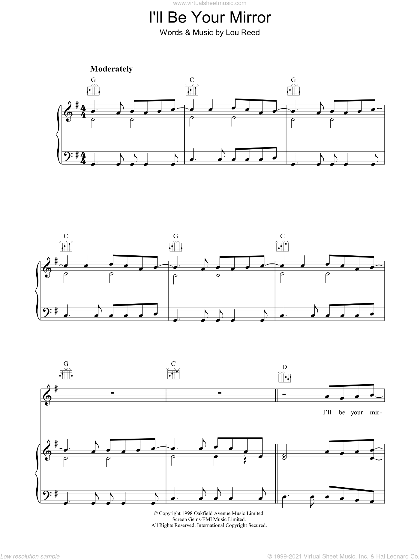 I'll Be Your Mirror sheet music for voice, piano or guitar by Lou Reed, intermediate. Score Image Preview.