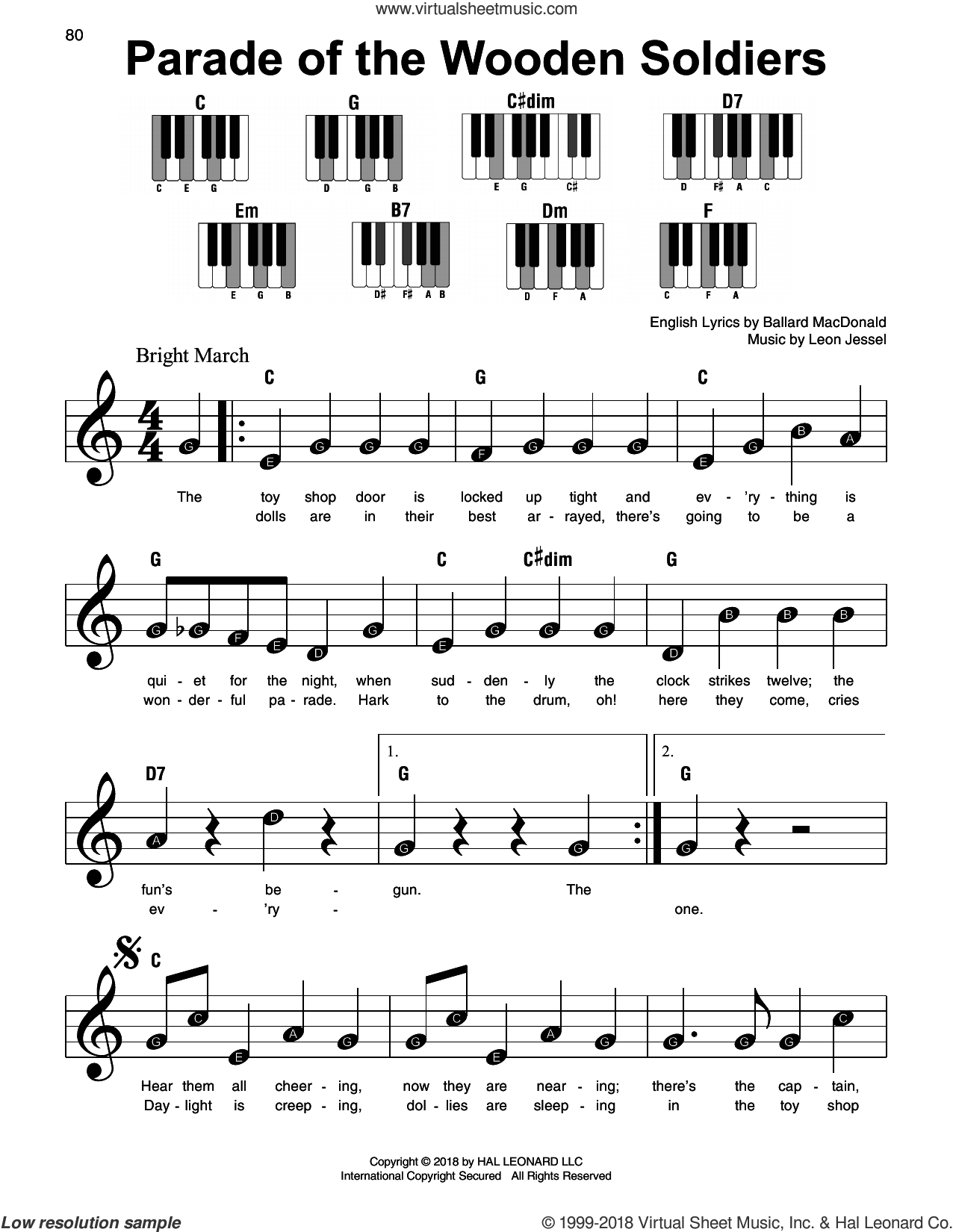 Parade Of The Wooden Soldiers, (beginner) sheet music for piano solo by Ballard MacDonald and Leon Jessel, beginner skill level