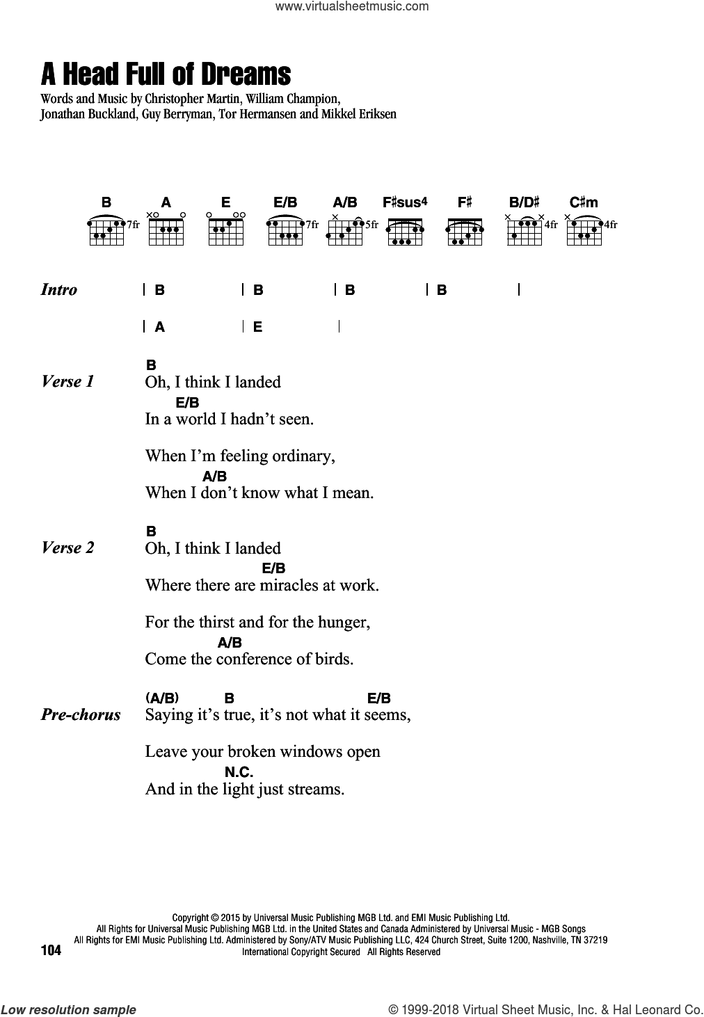 A Head Full Of Dreams sheet music for guitar (chords) by Guy Berryman, Coldplay, Christopher Martin, Jonathan Buckland, Mikkel Eriksen, Tor Erik Hermansen and William Champion, intermediate skill level