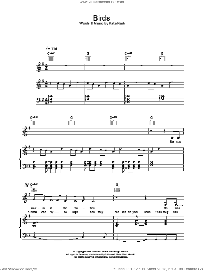 Birds sheet music for voice, piano or guitar by Kate Nash
